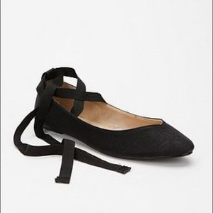 Kimchi Blue Sweetheart Ankle Tie Ballet Flats